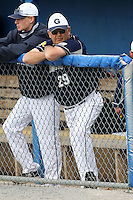 April 15,2010:  Assistant Coach Carl Hyde of the Genesee Community College (GCC) Cougars Men's Baseball Team in a game vs. Alfred State at Dwyer Stadium in Batavia, NY.  Photo Copyright Mike Janes Photography 2010