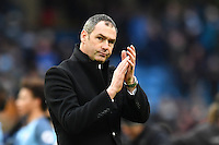 Swansea manager Paul Clement applauds the Swansea fans at full time during the Premier League match between Manchester City and Swansea City at the Etihad Stadium, Manchester, England. Sunday 05 February 2017