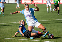 Kansas City, MO - Sunday May 07, 2017: Katie Bowen, Steph Catley during a regular season National Women's Soccer League (NWSL) match between FC Kansas City and the Orlando Pride at Children's Mercy Victory Field.