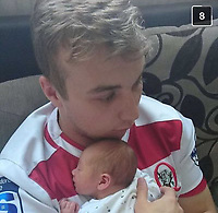 Pictured: Mathew Jones with his baby Cory.<br /> Re: Rugby player Mathew Jones, who has been found guilty of killing his baby son Cory Rhys by shaking him to death, and is due to be sentenced today (Wed 17 July 2019) at Newport Crown Court, Wales, UK