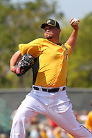 Pittsburgh Pirates pitcher Jo-Jo Reyes #23 delivers a pitch during a spring training game against the Minnesota Twins at McKechnie Field on March 10, 2012 in Bradenton, Florida.  Minnesota defeated Pittsburgh 4-2.  (Mike Janes/Four Seam Images)
