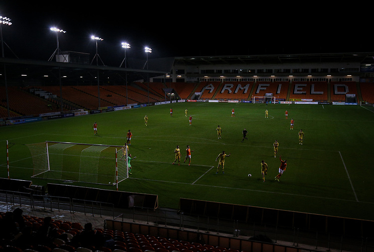 A general view of the action inside Bloomfield Road, home of Blackpool<br /> <br /> Photographer Alex Dodd/CameraSport<br /> <br /> EFL Leasing.com Trophy - Northern Section - Group G - Blackpool v Morecambe - Tuesday 3rd September 2019 - Bloomfield Road - Blackpool<br />  <br /> World Copyright © 2018 CameraSport. All rights reserved. 43 Linden Ave. Countesthorpe. Leicester. England. LE8 5PG - Tel: +44 (0) 116 277 4147 - admin@camerasport.com - www.camerasport.com