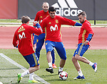 Spain's Nacho Montreal, Andres Iniesta, Alvaro Morata and Jordi Alba during training session. March 22,2017.(ALTERPHOTOS/Acero)