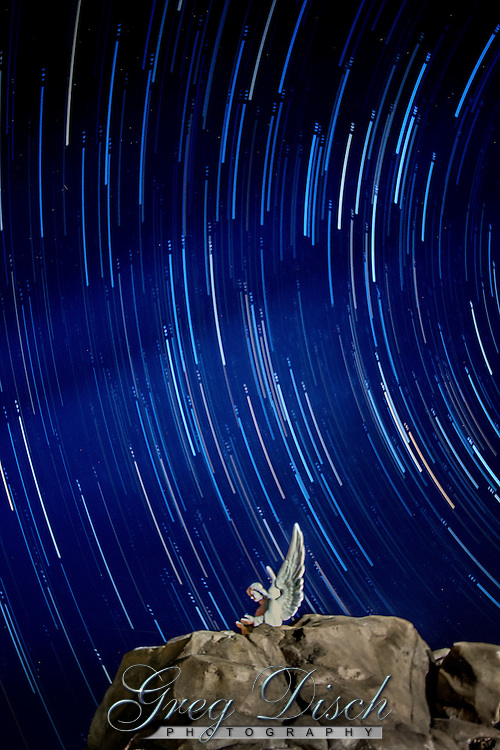Startrails over angel statue in Groom Texas which is the site of the the largest free standing cross in the western hemisphere, located along interstate 40 in Groom Texas. The cross was erected in 1995, and is 19 stories, or 190 feet tall. The giant cross can be seen from as far as 25 miles away and seen by millions of motorists every year. Around the base of the cross are life size sculptors depiction the 12 stations of the croos.