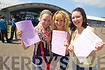 EXAM ONE COMPLETE: Students from Mercy Mounthawk were relieved to get their first paper over with on Wednesday. From l-r were: Tara Walsh, Chloe Guiry Collins and Laura Cunningham.