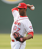 Pitcher Miguel Celestino (37) of the Greenville Drive, Class A affiliate of the Boston Red Sox, prior to a game against the Charleston RiverDogs on April 11, 2011, at Fluor Field at the West End in Greenville, S.C. Photo by Tom Priddy / Four Seam Images