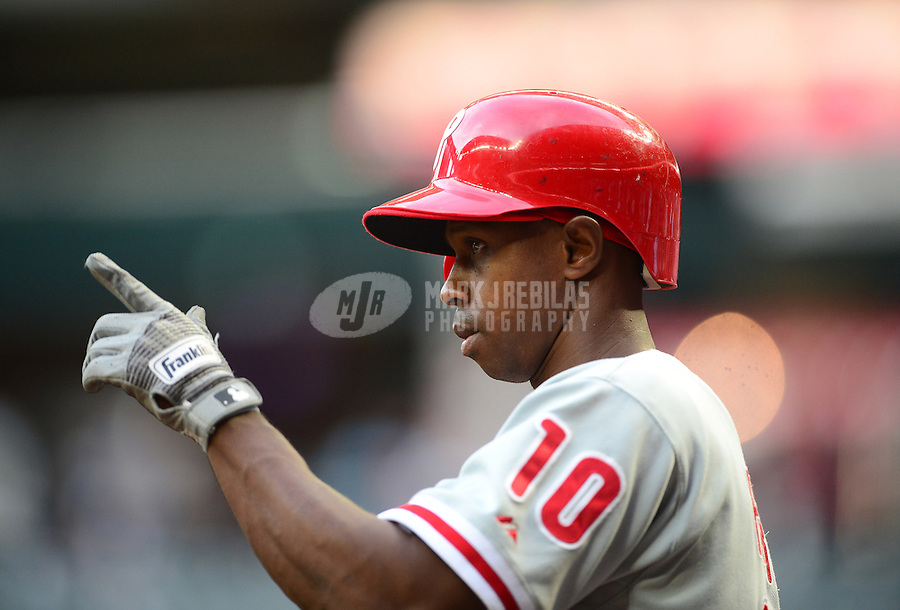 Apr. 23, 2012; Phoenix, AZ, USA; Philadelphia Phillies outfielder Juan Pierre points in the first inning against the Arizona Diamondbacks at Chase Field. Mandatory Credit: Mark J. Rebilas-