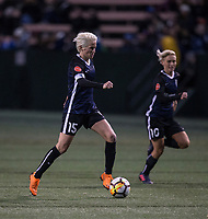 Seattle, WA - Saturday March 24, 2018: Megan Rapinoe, Jessica Fishlock during a regular season National Women's Soccer League (NWSL) match between the Seattle Reign FC and the Washington Spirit at the UW Medicine Pitch at Memorial Stadium.