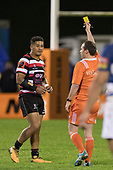 Augustine Pulu watches as referee Cameron Stone issues a yellow card to Sam Henwood. Mitre 10 Cup rugby game between Counties Manukau Steelers and Auckland played at ECOLight Stadium, Pukekohe on Saturday August 19th 2017. Counties Manukau Stelers won the game 16 - 14 and retain the Dan Bryant Memorial trophy.<br /> Photo by Richard Spranger.
