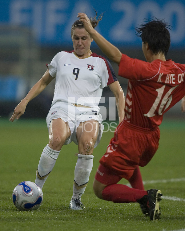 Heather O'Reilly of the USA. The United States (USA) and North Korea (PRK) played to a 2-2 tie during a FIFA Women's World Cup China 2007 opening round Group B match at Chengdu Sports Center Stadium, Chengdu, China, on September 11, 2007.