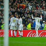 Real Madrid CF's Mariano Diaz celebrates after scoring a goal during La Liga match. Mar 01, 2020. (ALTERPHOTOS/Manu R.B.)
