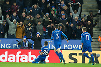 Riyad Mahrez of Leicester City celebrates his goal during the Premier League match between Leicester City and Tottenham Hotspur at the King Power Stadium, Leicester, England on 28 November 2017. Photo by James Williamson / PRiME Media Images.