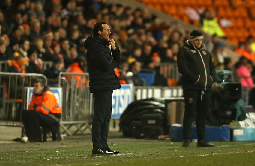 Arsenal manager Unai Emery shouts instructions to his team from the dug-out <br /> <br /> Photographer Stephen White/CameraSport<br /> <br /> Emirates FA Cup Third Round - Blackpool v Arsenal - Saturday 5th January 2019 - Bloomfield Road - Blackpool<br />  <br /> World Copyright © 2019 CameraSport. All rights reserved. 43 Linden Ave. Countesthorpe. Leicester. England. LE8 5PG - Tel: +44 (0) 116 277 4147 - admin@camerasport.com - www.camerasport.com