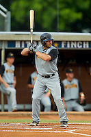 Ridge Gonsoulin #4 (LSU Shreveport) of the Wilson Tobs at bat against the High Point-Thomasville HiToms at Finch Field on June 17, 2013 in Thomasville, North Carolina.  The Tobs defeated the HiToms 3-2 in 11 innings.  Brian Westerholt/Four Seam Images