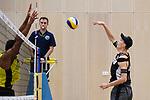 04.01.2019, Den Haag, Sportcampus Zuiderpark<br />Beachvolleyball, FIVB World Tour, 2019 DELA Beach Open<br /><br />Block Pedro Solberg Salgado (#1 BRA) - Angriff Julius Thole (#1)<br /><br />  Foto &copy; nordphoto / Kurth