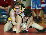 SIOUX FALLS, SD - DECEMBER 28:  Kahlen Morris from Roosevelt has control of Brody Jorensen from Sturgis in their 113 pound championship match Saturday afternoon December 28, 2013 at Lincoln High School in Sioux Falls, South Dakota. (Photo by  Dave Eggen/Inertia)