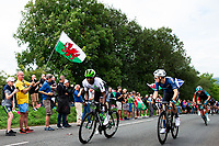 Picture by Alex Whitehead/SWpix.com - 02/09/2018 - Cycling - OVO Energy Tour of Britain - Stage 1: Pembrey Park to Newport, Wales - Nic Dlamini of Dimension Data and Rory Townsend of Canyon Eisberg in action on Defynnog.