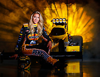 Jan 10, 2018; Brownsburg, IN, USA; NHRA top fuel driver Leah Pritchett poses for a portrait during a photo shoot at Don Schumacher Racing. Mandatory Credit: Mark J. Rebilas-USA TODAY Sports