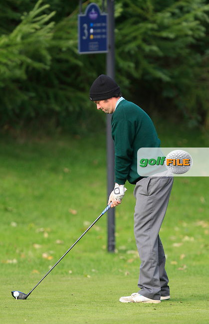 Martin McTernan (Co. Sligo G.C) on the 3rd tee during Round 2 of The Cassidy Golf 103rd Irish PGA Championship in Roganstown Golf Club on Friday 11th October 2013.<br /> Picture:  Thos Caffrey / www.golffile.ie