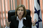 Kadima Chairwomen Tzipi Livni speaks at Kadima party meeting in Israel's Parliament (Knesset) in Jerusalem, Monday, March 16, 2009. Despite recent rumors that have suggested there may be a possibility of Kadima joining with Likud's government, Livni today ruled out this option, saying that unless Prime Minister-designate Benjamin Netanyahu accepts Kadima's principles, there can be no unity government. Photo By: Daniel Bar On / JINI