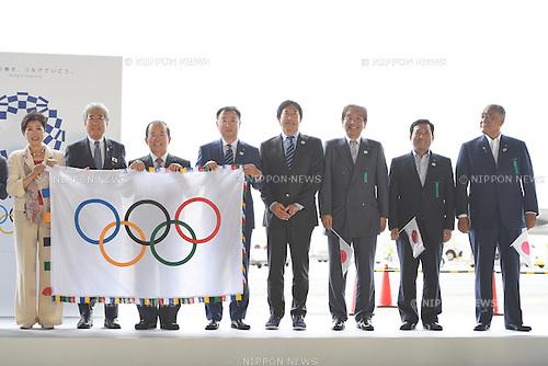 (L-R)  Yuriko Koike,  JOCTsunekazu Takeda, Toshiro Muto,  Hirokazu Matsuno,  Daichi Suzuki, <br /> AUGUST 24, 2016 : The Olympic flag welcoming ceremony at Haneda Airport in Tokyo, Japan. The Olympic flag was passed to new Tokyo governor Yuriko Koike from IOC President at the Rio de Janeiro 2016 Olympic Games closing ceremony on August 21. Tokyo will host the 2020 Olympic Games. (Photo by AFLO SPORT)