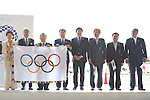 (L-R)  Yuriko Koike,  JOCTsunekazu Takeda, Toshiro Muto,  Hirokazu Matsuno,  Daichi Suzuki, <br /> AUGUST 24, 2016 : The Olympic flag welcoming ceremony at Haneda Airport in Tokyo, Japan. The Olympic flag was passed to new Tokyo governor Yuriko Koike from IOC President at the Rio de Janeiro 2016 Olympic Games closing ceremony on August 21. Tokyo will host the 2020 Olympic Games. (Photo by AFLO SPORT)