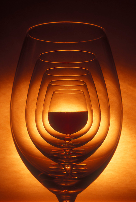 Wine glasses with cabernet