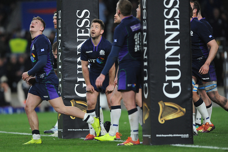 Greig Laidlaw of Scotland watches the final kick of the match go through the posts as England draw in a thrilling 38-38 result during the Guinness Six Nations Calcutta Cup match between England and Scotland at Twickenham Stadium on Saturday 16th March 2019 (Photo by Rob Munro/Stewart Communications)