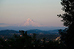 Views at sunset of downtown Portland, Oregon and Mt. Hood