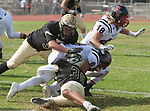 Palos Verdes, CA 11/03/17 - Jason Augello (Peninsula #58) and Hunter Hladek (Palos Verdes #8) and Jared Patterson (Peninsula #36) in action during the Palos Verdes vs Palos Verdes Peninsula CIF Varsity football game at Peninsula High School for the battle of the hill.
