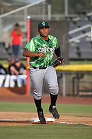 Gustavo Polanco (40) of the Eugene Emeralds in the field at first base during a game against the Salem-Keizer Volcanoes at Volcanoes Stadium on July 24, 2017 in Keizer, Oregon. Eugene defeated Salem-Keizer, 7-6. (Larry Goren/Four Seam Images)
