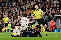 Real Madrid's Gareth Bale and Valencia CF's Francis Coquelin fight for the ball during La Liga match between Real Madrid and Valencia CF at Santiago Bernabeu Stadium in Madrid, Spain. December 01, 2018. (ALTERPHOTOS/A. Perez Meca) /NortePhoto NORTEPHOTOMEXICO