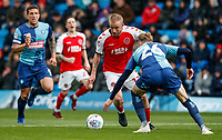 Fleetwood Town's Paddy Madden competing with Wycombe Wanderers' Jason McCarthy <br /> <br /> Photographer Andrew Kearns/CameraSport<br /> <br /> The EFL Sky Bet League One - Wycombe Wanderers v Fleetwood Town - Saturday 4th May 2019 - Adams Park - Wycombe<br /> <br /> World Copyright © 2019 CameraSport. All rights reserved. 43 Linden Ave. Countesthorpe. Leicester. England. LE8 5PG - Tel: +44 (0) 116 277 4147 - admin@camerasport.com - www.camerasport.com