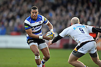 Anthony Watson of Bath Rugby in possession. Aviva Premiership match, between Bath Rugby and Wasps on January 10, 2015 at the Recreation Ground in Bath, England. Photo by: Patrick Khachfe / Onside Images