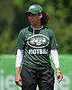 Collette Smith, assistant defensive coach, observes practice during a day of New York Jets Training Camp at Atlantic Health Jets Training Center in Florham Park, NJ on Monday, July 31, 2017.