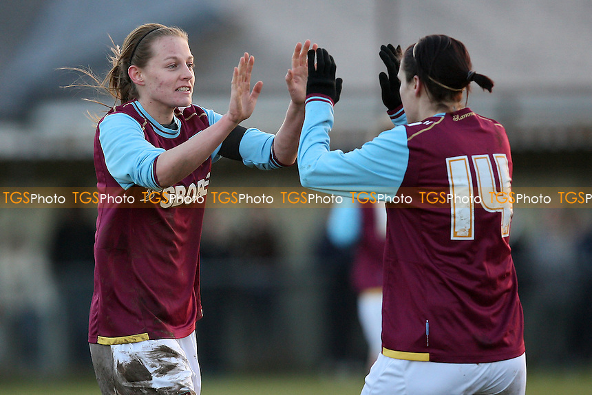 West Ham celebrate after an own-goal gives them a 1-0 lead - Colchester United Ladies vs West Ham United Ladies - FA Womens Premier League Southern Division Football at Stanway Rovers FC - 18/12/11 - MANDATORY CREDIT: Gavin Ellis/TGSPHOTO - Self billing applies where appropriate - 0845 094 6026 - contact@tgsphoto.co.uk - NO UNPAID USE.