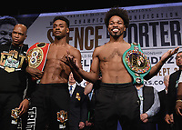 LOS ANGELES - SEPTEMBER 27: Earl Spence Jr. and Shawn Porter attend the weigh-in for the September 28 Fox Sports PBC Pay-Per-View fight night in Los Angeles, California. (Photo by Frank Micelotta/Fox Sports/PictureGroup)