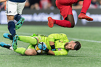 FOXBOROUGH, MA - AUGUST 31: Quentin Westberg #16 of Toronto FC save during a game between Toronto FC and New England Revolution at Gillette Stadium on August 31, 2019 in Foxborough, Massachusetts.