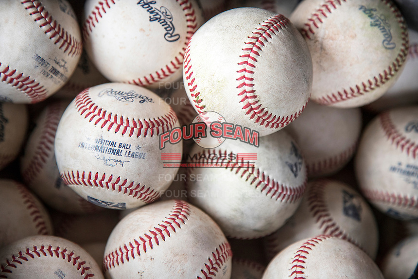 International League baseballs on April 30, 2017 at Fifth Third Field in Toledo, Ohio. (Andrew Woolley/Four Seam Images)
