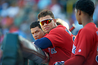 Boston Red Sox second baseman Yoan Moncada (22) in the dugout during a Spring Training game against the Pittsburgh Pirates on March 9, 2016 at McKechnie Field in Bradenton, Florida.  Boston defeated Pittsburgh 6-2.  (Mike Janes/Four Seam Images)