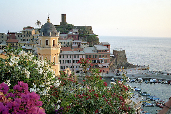 Vernazza, Italy, one of the tiny fishing villages of the Cinque Terre along the Ligurian coast in the early evening.