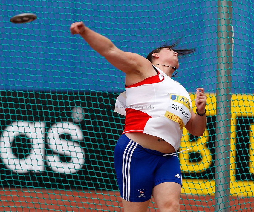 Photo: Richard Lane/Richard Lane Photography. .Aviva London Grand Prix, Crystal Palace. 26/07/2008. Great Britain's Emma Carpenter in the women's discus.