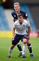 Bolton Wanderers' Josh Cullen holds off the challenge from Millwall's George Saville<br /> <br /> Photographer Ashley Western/CameraSport<br /> <br /> The EFL Sky Bet Championship - Millwall v Bolton Wanderers - Saturday August 12th 2017 - The Den - London<br /> <br /> World Copyright &not;&copy; 2017 CameraSport. All rights reserved. 43 Linden Ave. Countesthorpe. Leicester. England. LE8 5PG - Tel: +44 (0) 116 277 4147 - admin@camerasport.com - www.camerasport.com