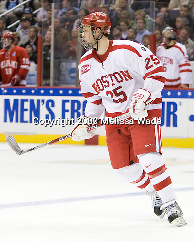 Colby Cohen (BU - 25) - The Boston University Terriers defeated the Miami University RedHawks 4-3 in overtime to win the 2009 NCAA D1 National Championship at the Frozen Four on Saturday, April 11, 2009, at the Verizon Center in Washington, DC.