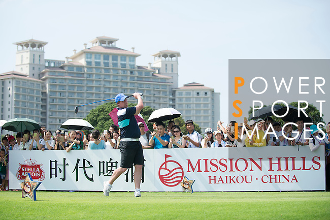Robbie Fowler tees off the 10th hole during the World Celebrity Pro-Am 2016 Mission Hills China Golf Tournament on 22 October 2016, in Haikou, China. Photo by Marcio Machado / Power Sport Images