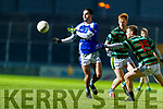 Cormac Coffey Kerin's O'Rahillys in action against Niall Sheehy  St Brendans in the Quarter Final of the Kerry Senior Football Championship at Austin Stack Park on Saturday night