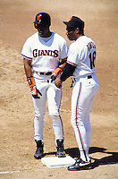 Baseball: San Francisco Giants Barry Bonds and Bobby Bonds. San Francisco, CA 7/28/1993 MANDATORY CREDIT: Brad Mangin