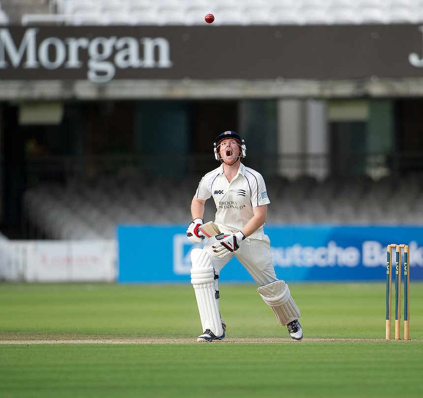 Middlesex's Eoin Morgan on his way to 20 against Durham at Lords today<br /> <br /> (Photo by Ashley Western/CameraSport) <br /> <br /> County Cricket - Liverpool Victoria County Championship - Division One - Middlesex v Durham - Day 1 - Friday 2nd August 2013 - Lord's Cricket Ground - London<br /> <br /> &copy; CameraSport - 43 Linden Ave. Countesthorpe. Leicester. England. LE8 5PG - Tel: +44 (0) 116 277 4147 - admin@camerasport.com - www.camerasport.com