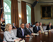 United States President Barack Obama holds a Cabinet meeting with, from left, Secretary of State Hillary Clinton, Secretary of Defense Robert Gates, Secretary of Commerce Gary Locke, Secretary of Transportation Ray LaHood, and Secretary of Homeland Security Janet Napolitano, in the Cabinet Room of the White House, on Tuesday, May 3, 2011, in Washington, DC. .Credit: Leslie E. Kossoff / Pool via CNP