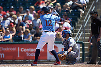 Rhys Hoskins (12) of the Lehigh Valley Iron Pigs at bat against the Durham Bulls at Coca-Cola Park on July 30, 2017 in Allentown, Pennsylvania.  The Bulls defeated the IronPigs 8-2.  (Brian Westerholt/Four Seam Images)